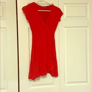 Soprano red faux wrap dress